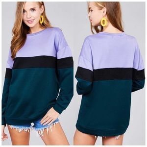 Color block teal & lilac oversized sweatshirt NWT